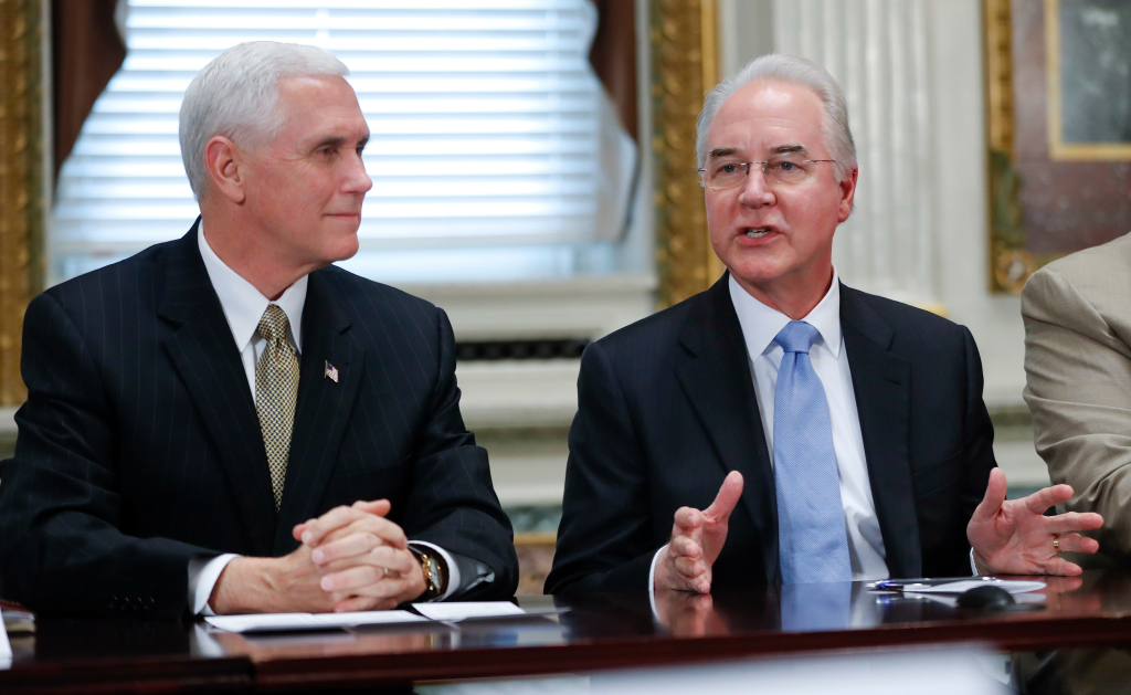 Mike Pence, Tom Price Vice President Mike Pence listens at left as Health and Human Services Secretary Tom Price speaks during a meeting with conservative groups to discuss healthcare, in the Indian Treaty Room of the Eisenhower Executive Office on the White House complex in WashingtonPence Health Overhaul, Washington, USA - 10 Mar 2017